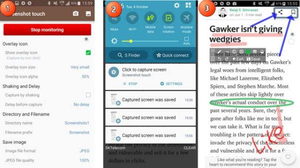 Рассмотрение возможностей Screenshot Touch