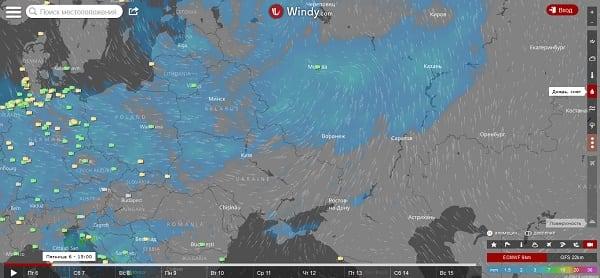 При расчёте метеопрогноза сервис Windy.com даём вам возможность выбора одной их трёх моделей прогнозов - NEMS, ECMWF, GFS (внизу справа) (справа снизу)
