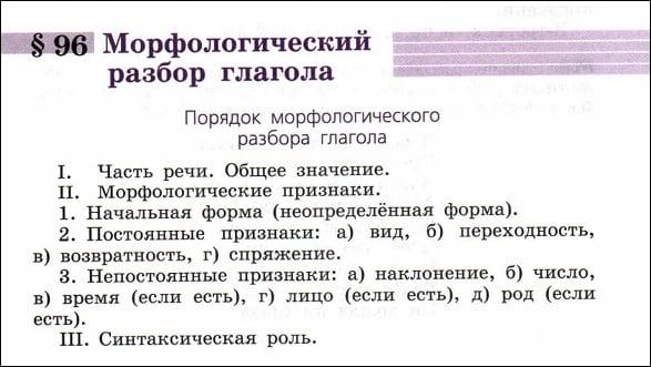 Так выглядит схема разбора глагола в учебнике русского языка