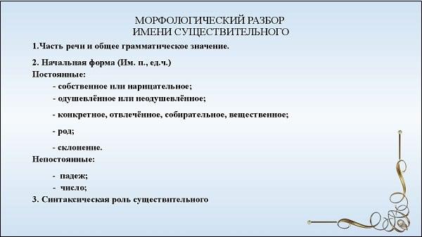 Перечень шагов по морфологическому разбору существительного