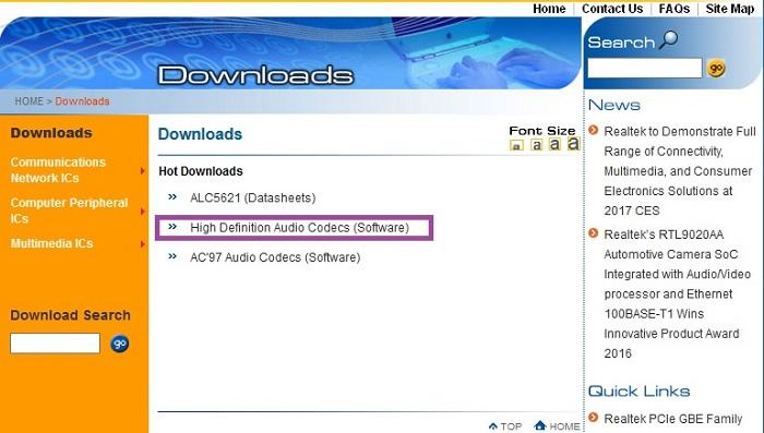 Скачиваем Realtek HD с официального сайта