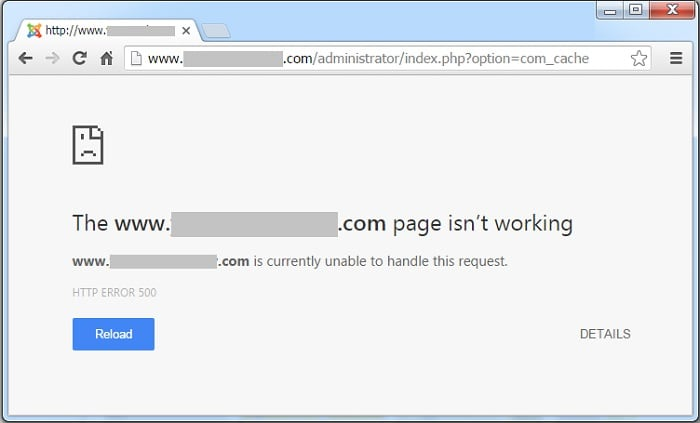 Исправление ошибки 500 в браузере Google Chrome