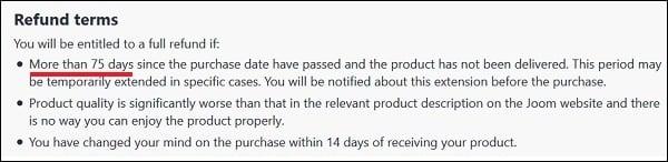 Вы можете требовать свои деньги назад, если не получите товар за 75 дней