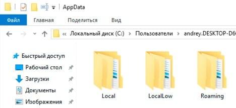 Содержимое папки AppData