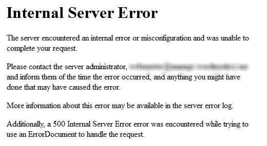 Устраняем ошибку Internal Server Error