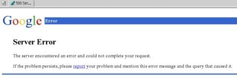 Скриншот ошибки 500 Internal Server Error