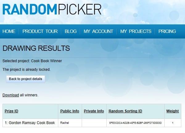 Определяем победителя конкурса при помощи Random Picker