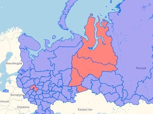 Выделено красным цветом - регионы, где работают операторы с номерами на 977