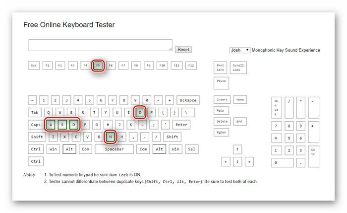 Тестируем клавиши в сервисе Keyboard Tester