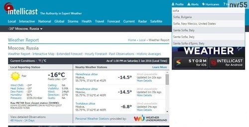 Определяем погоду на сервисе Intellicast.com