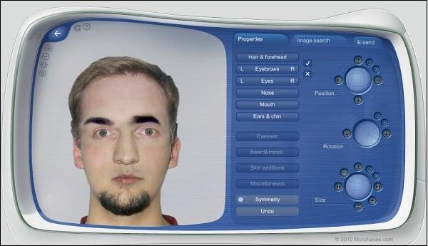 Изменение лица человека с помощью разных элементов на morphases.com