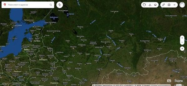 Гибридный режим карты России на Яндексе