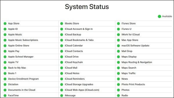 Проверьте статусы серверов на apple.com