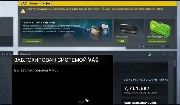 Читер может быть заблокирован как VAC, так и патрулём