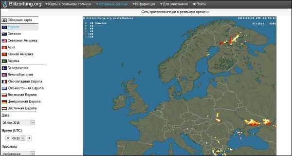 Отображение гроз на Blitzortung.org