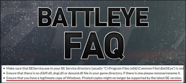 """Заявление об отсутствии поддержки пиратских ОС разработчиками """"BattleEye"""""""