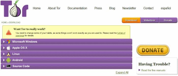 Официальный сайт браузера Tor
